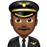 Man Pilot Emoji with a Medium-Dark Skin Tone, Apple style