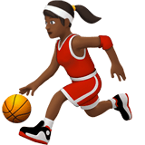 Woman Bouncing Ball Emoji with a Medium-Dark Skin Tone, Apple style