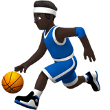 Man Bouncing Ball Emoji with a Dark Skin Tone, Apple style