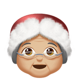 Mrs. Claus Emoji with Medium-Light Skin Tone, Apple style