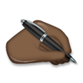 Writing Hand Emoji with a Dark Skin Tone, LG style