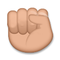 Raised Fist Emoji with a Medium Skin Tone, LG style