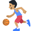 Person Bouncing Ball Emoji with a Medium Skin Tone, Facebook style