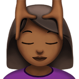 Person Getting Massage Emoji with Medium-Dark Skin Tone, Apple style