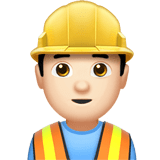 Man Construction Worker Emoji with Light Skin Tone, Apple style