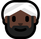 Person Wearing Turban Emoji with Dark Skin Tone, Microsoft style