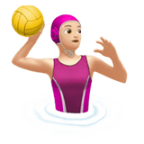 Woman Playing Water Polo Emoji with Light Skin Tone, Apple style
