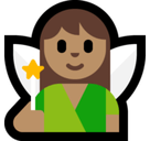 Fairy Emoji with Medium Skin Tone, Microsoft style