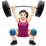 Woman Lifting Weights Emoji with Light Skin Tone, Apple style