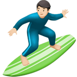 Man Surfing Emoji with a Light Skin Tone, Apple style
