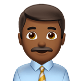 Man Office Worker Emoji with a Medium-Dark Skin Tone, Apple style