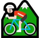 Man Mountain Biking Emoji with Light Skin Tone, Microsoft style