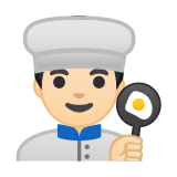 Man Cook Emoji with Light Skin Tone, Google style