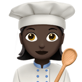 Woman Cook Emoji with a Dark Skin Tone, Apple style