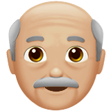 Old Man Emoji with a Medium-Light Skin Tone, Apple style