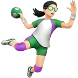 Woman Playing Handball Emoji with a Light Skin Tone, Apple style