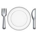 Fork and Knife with Plate Emoji, Facebook style