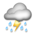 Cloud with Lightning and Rain Emoji, LG style