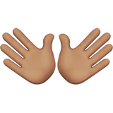 Open Hands Emoji with a Medium Skin Tone, Apple style