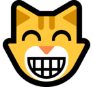 Grinning Cat Face with Smiling Eyes Emoji, Microsoft style