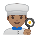 Man Cook Emoji with Medium Skin Tone, Google style