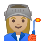 Woman Factory Worker Emoji with a Medium-Light Skin Tone, Google style