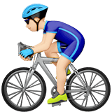 Man Biking Emoji with Light Skin Tone, Apple style