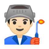 Man Factory Worker Emoji with Light Skin Tone, Google style