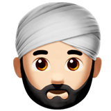 Person Wearing Turban Emoji with a Light Skin Tone, Apple style