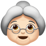 Old Woman Emoji with a Light Skin Tone, Apple style