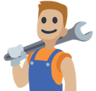 Man Mechanic Emoji with Medium-Light Skin Tone, Facebook style