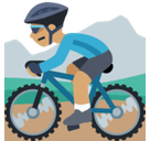 Person Mountain Biking Emoji with a Medium Skin Tone, Facebook style