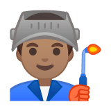 Man Factory Worker Emoji with Medium Skin Tone, Google style