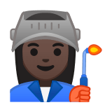 Woman Factory Worker Emoji with a Dark Skin Tone, Google style