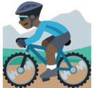 Person Mountain Biking Emoji with Dark Skin Tone, Facebook style