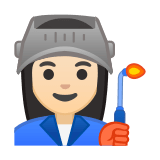 Woman Factory Worker Emoji with Light Skin Tone, Google style