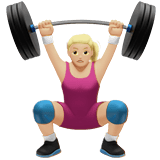 Woman Lifting Weights Emoji with Medium-Light Skin Tone, Apple style