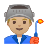 Man Factory Worker Emoji with a Medium-Light Skin Tone, Google style