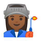 Woman Factory Worker Emoji with a Medium-Dark Skin Tone, Google style