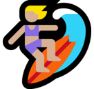 Woman Surfing Emoji with Medium-Light Skin Tone, Microsoft style