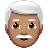 Man: Medium Skin Tone, White Hair, Apple style