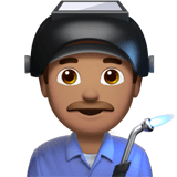 Man Factory Worker Emoji with Medium Skin Tone, Apple style
