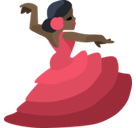 Woman Dancing Emoji with a Dark Skin Tone, Facebook style