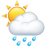Sun Behind Rain Cloud Emoji, Apple style