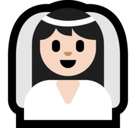 Bride with Veil Emoji with a Light Skin Tone, Microsoft style