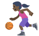 Woman Bouncing Ball Emoji with Dark Skin Tone, Facebook style
