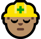 Man Construction Worker Emoji with Medium Skin Tone, Microsoft style