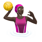 Woman Playing Water Polo Emoji with a Dark Skin Tone, Apple style