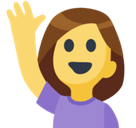 Hand Up Emoji / Person Raising Hand Emoji, Facebook style