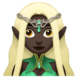 Woman Elf Emoji with Dark Skin Tone, Apple style